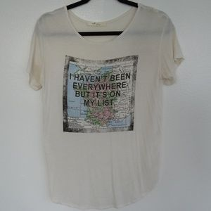 Gaze Graphic T - White Shirt With Map And Quote